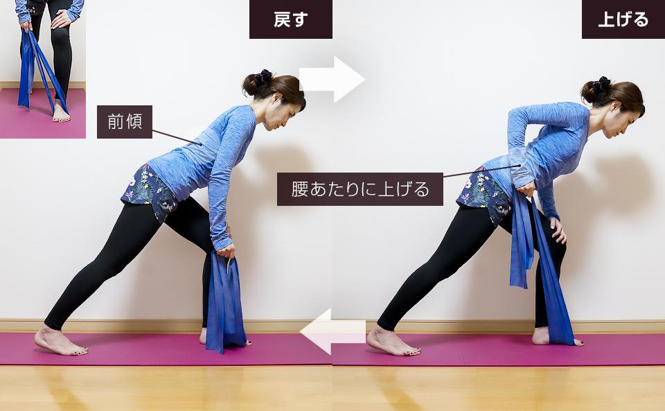 トレーニングチューブで背筋を鍛える使い方「ワンハンドロウ」