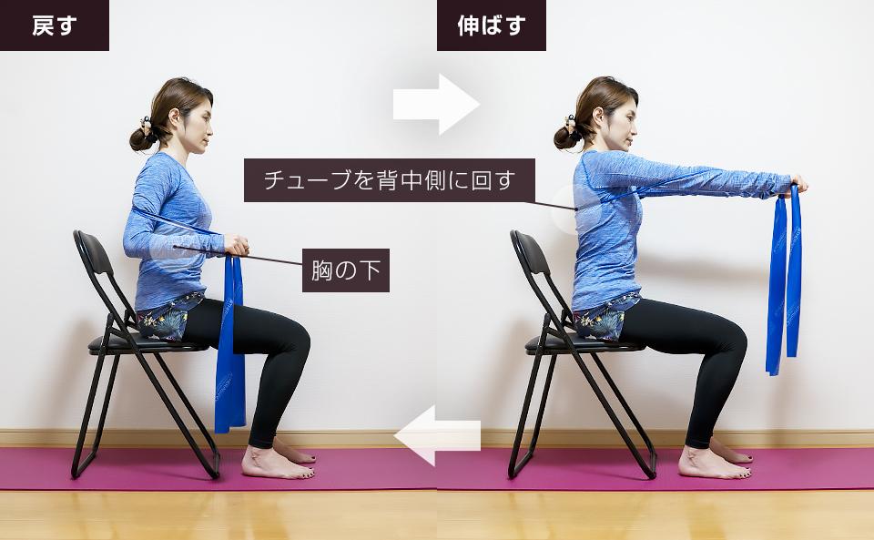 トレーニングチューブで胸筋を鍛える使い方「チェストプレス」