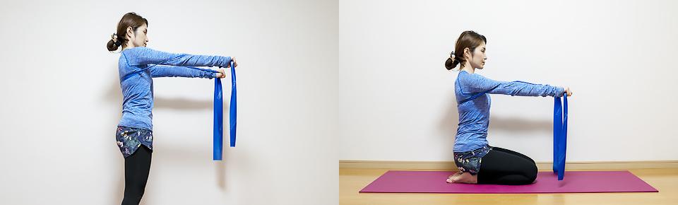 トレーニングチューブ「チェストプレ」立って・床に座って行うこともできる