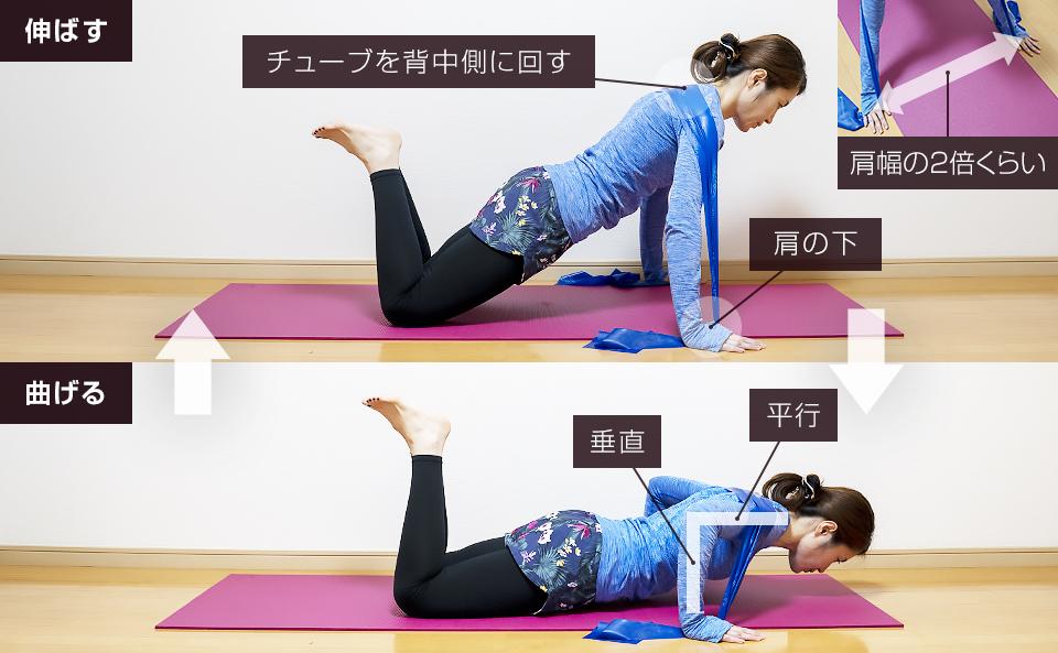 トレーニングチューブで胸筋を鍛える使い方「ワイドプッシュアップ」