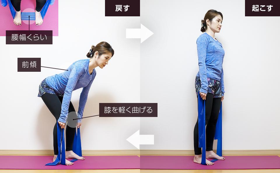 トレーニングチューブでおしり・下半身を鍛える使い方「デッドリフト」