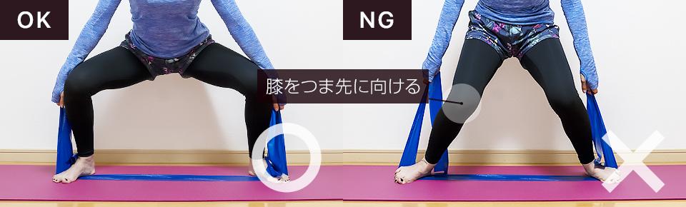 トレーニングチューブ・スクワットNG「膝が内側に向かないように注意」