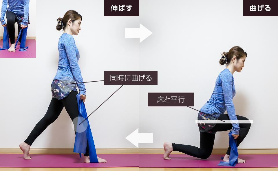 トレーニングチューブでおしり・下半身を鍛える使い方「スプリットスクワット」