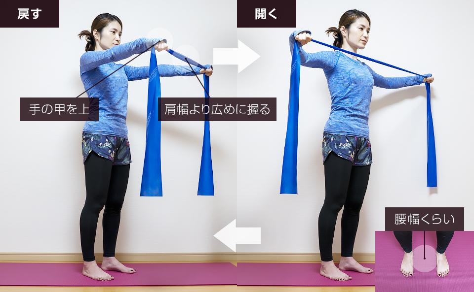 トレーニングチューブで肩を鍛える使い方「リバースフライ」