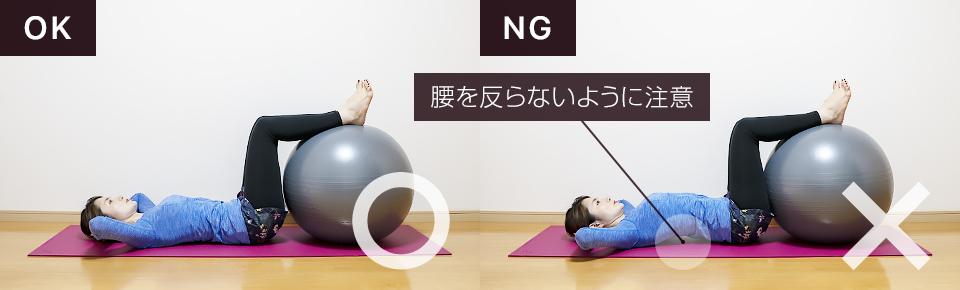バランスボールで腹筋の筋トレ「クランチ」NG「腰を反らないように注意」