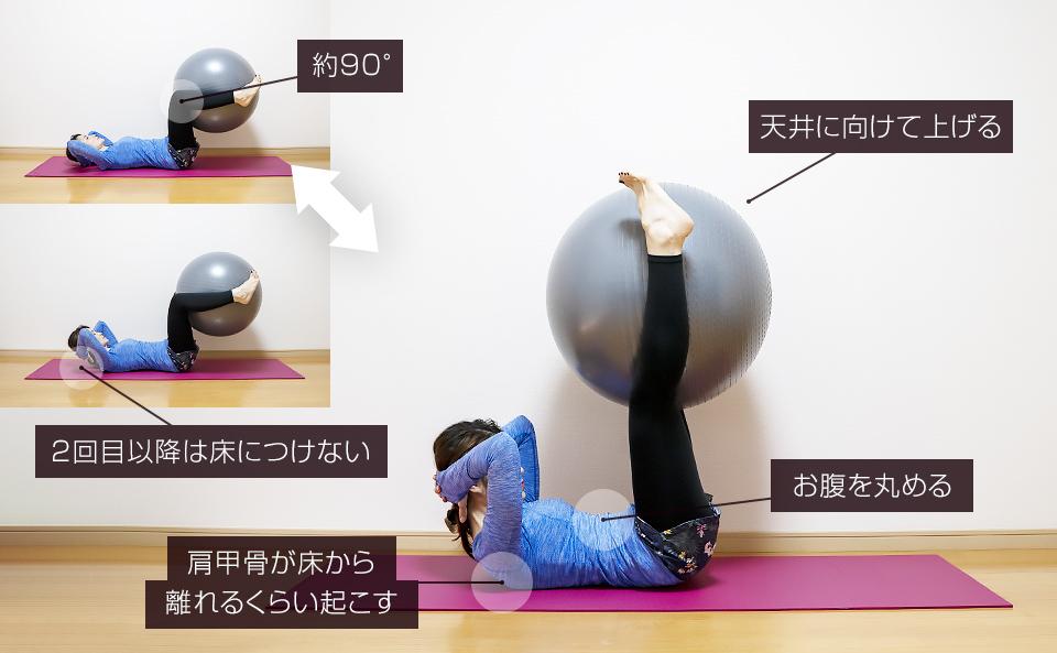 バランスボールで腹筋の筋トレ「レッグエクステンション&クランチ」