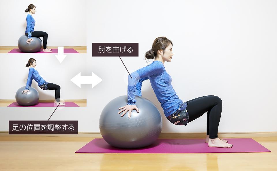 バランスボールを使って腕の筋トレ「リバースプッシュアップ」