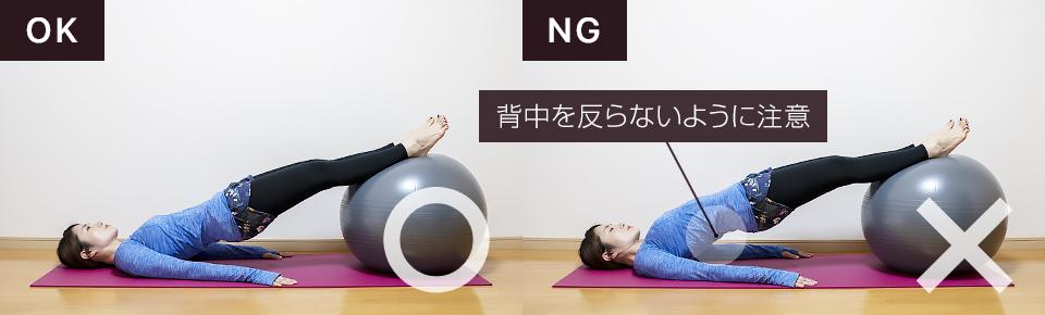 バランスボールでおしりの筋トレ「ヒップエクステンション1」NG「腰を反らないように注意」