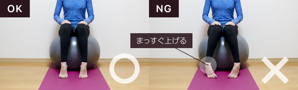 バランスボールでふくらはぎの筋トレ「カーフレイズ」NG「かかとが外側・内側を向かないように注意」