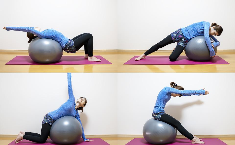 バランスボールで動的ストレッチを行う方法の紹介
