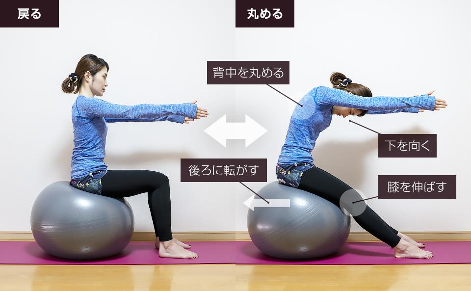 バランスボールに座って背中の動的ストレッチ