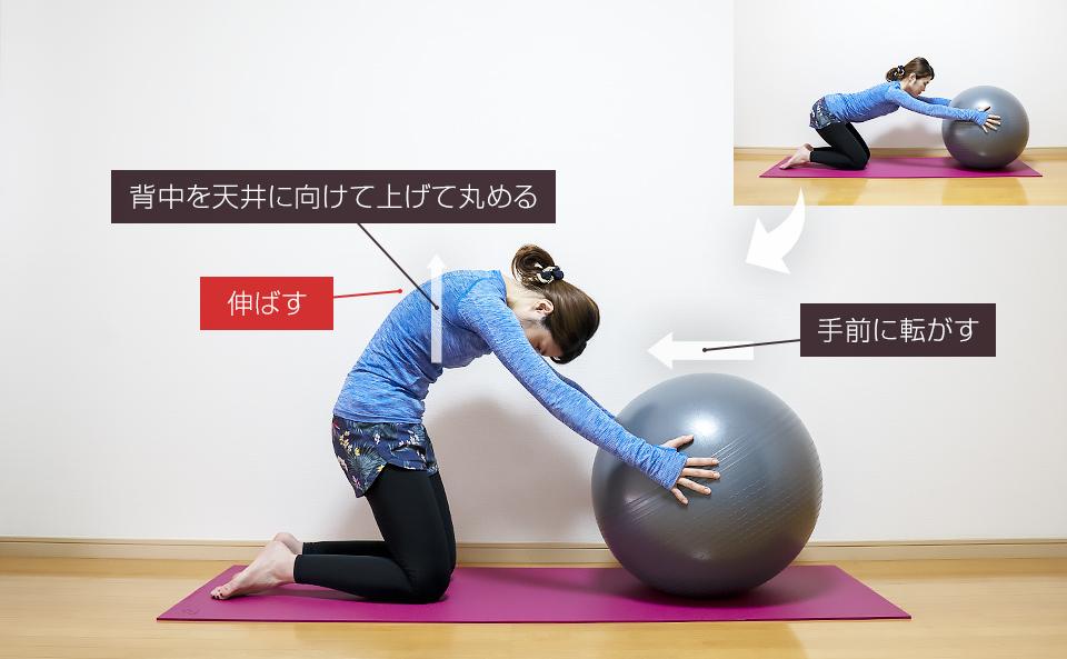 バランスボールに両手をおいて背中の動的ストレッチ