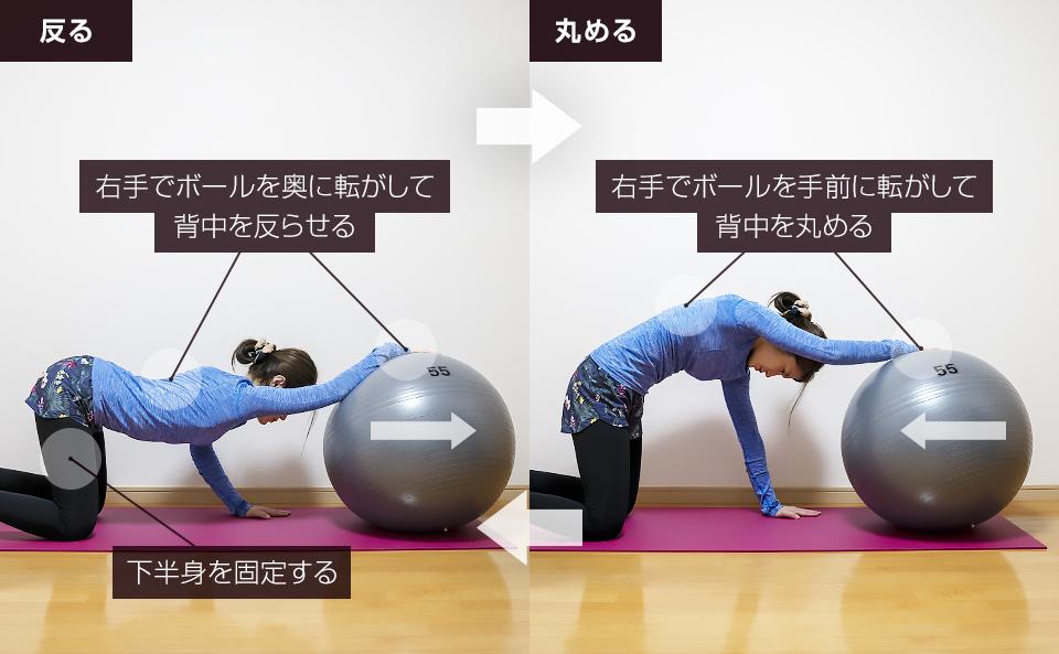 バランスボールに片手をおいて背中の動的ストレッチ
