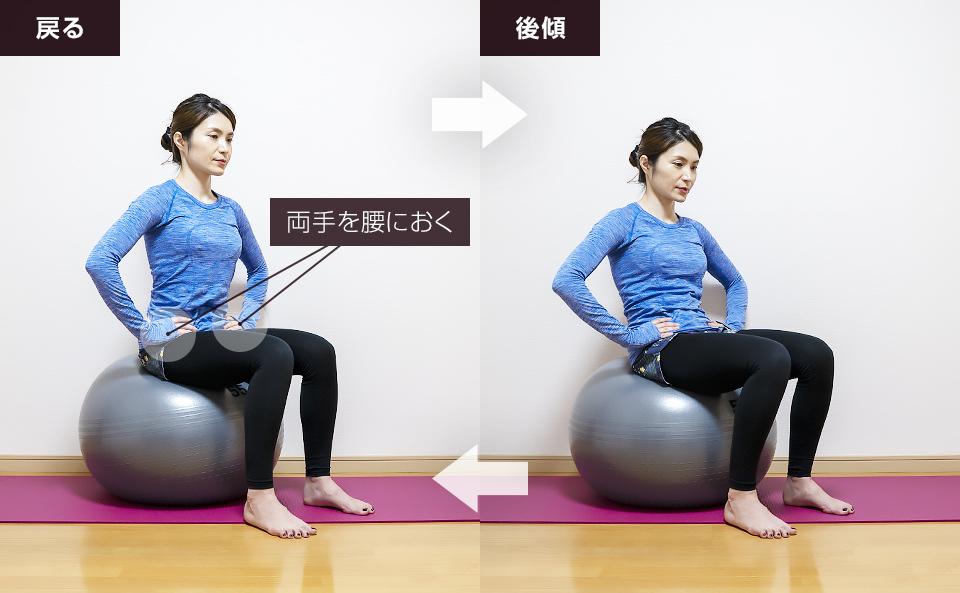 バランスボールに座って骨盤を後ろに傾ける動的ストレッチ