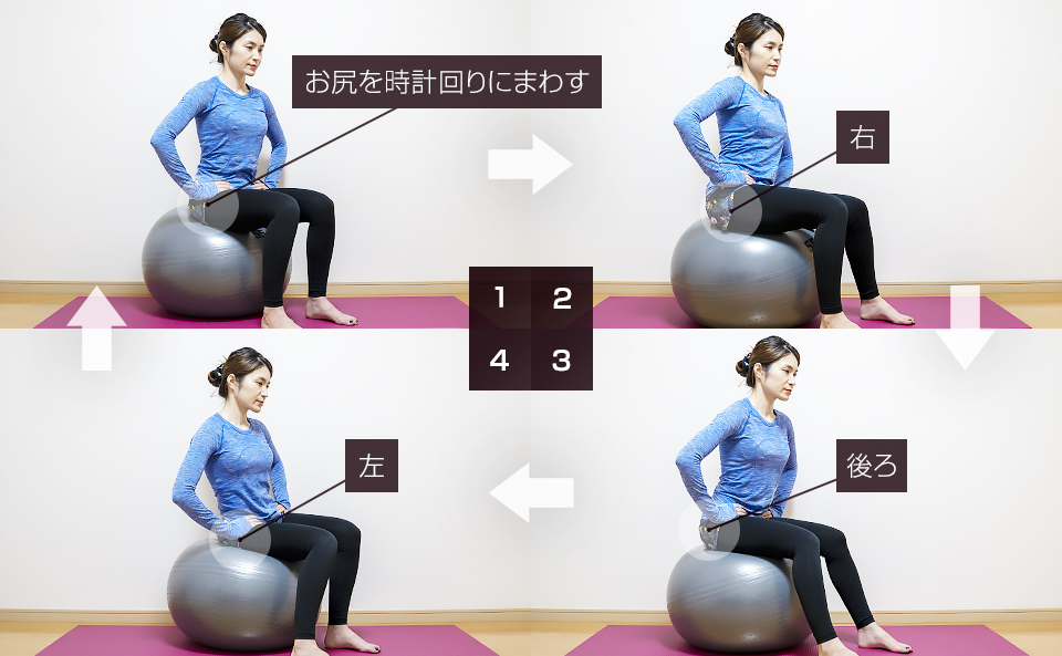 バランスボールに座って骨盤を回す動的ストレッチ