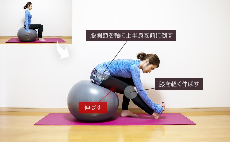 バランスボールの使い方「裏腿のストレッチ」
