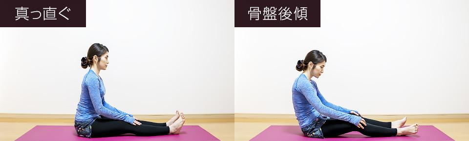 脚を前に伸ばして床に座った時にカラダが後ろに倒れてしまう方は骨盤が後傾している