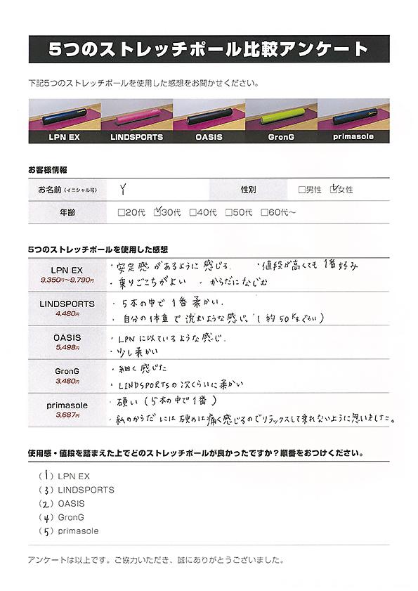 ストレッチポール比較アンケート(Y・30代・女性)