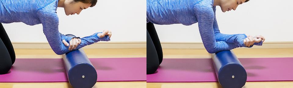 ストレッチポールで前腕を筋膜リリースする方法「左腕を右腕に乗せると負荷が上がる」